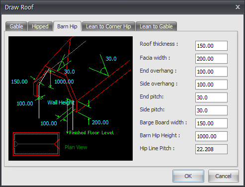 Draft it roof dialog box example image