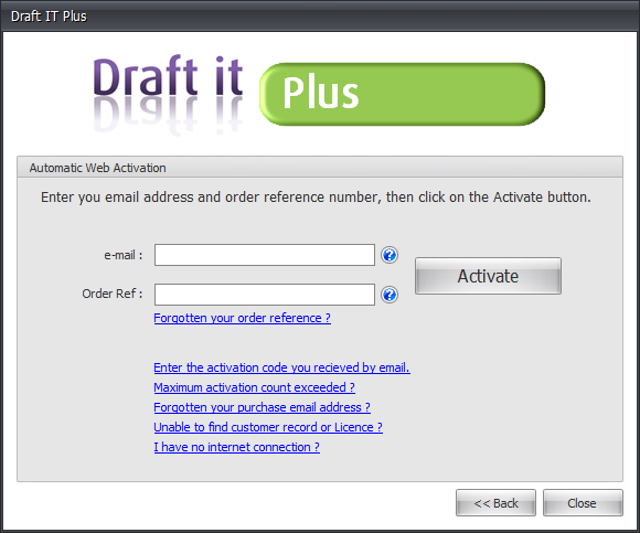 Draft it Plus automatic web activation image