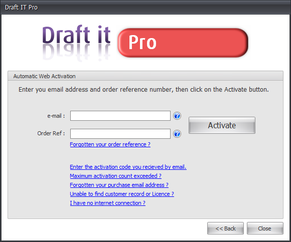 Draft it Pro automatic web activation image