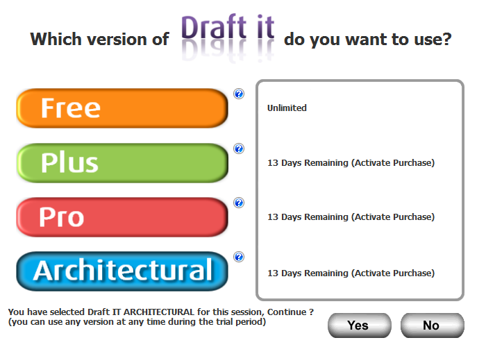 Draft it Architectural cad software splash screen