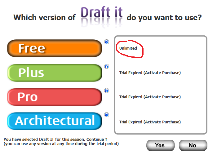 Activate the free version of Draft it cad software.
