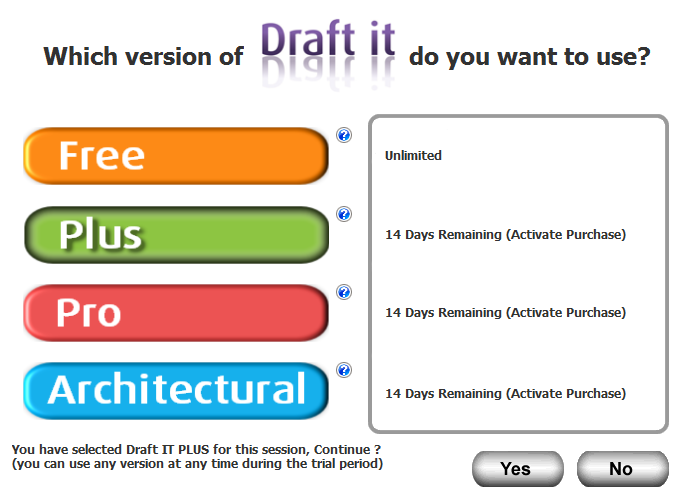 Draft it Plus cad software splash screen