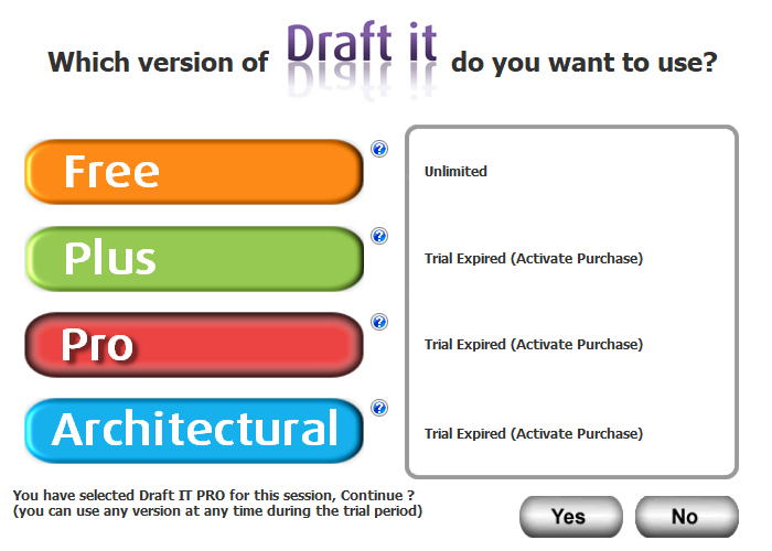 Draft it Pro cad software splash screen